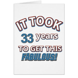 33rd year birthday designs card