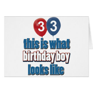 33rd year old birthday designs card