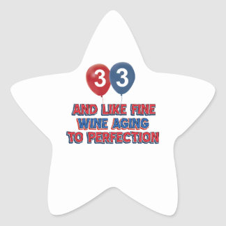33rd year old birthday designs star sticker