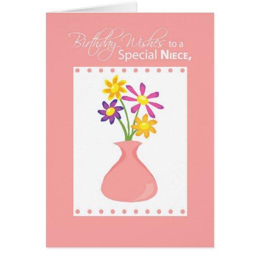 3414 Niece Birthday Flowers, Religious Greeting Cards