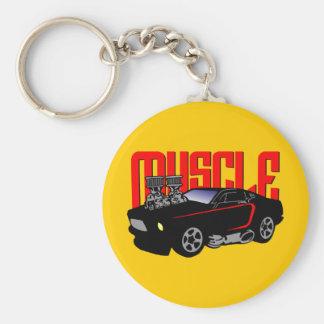 341 Cartoon Muscle Car Basic Round Button Key Ring