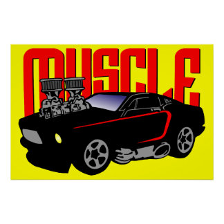 341 Cartoon Muscle Car Poster