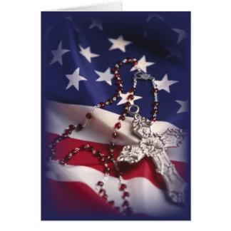 3437 Patriotic Cross and Flag Card