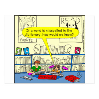 346 Word spelt wrong in dictionary color cartoon Postcard