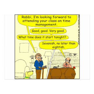 347 Class on time management color cartoon Post Card