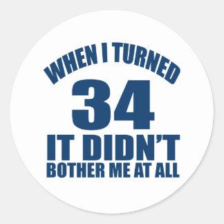34 Birthday Designs Classic Round Sticker