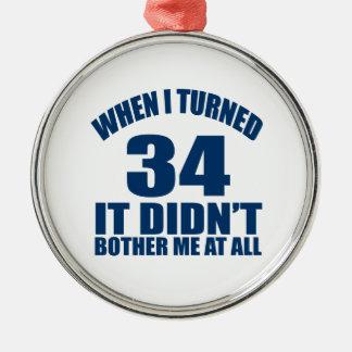 34 Birthday Designs Metal Ornament