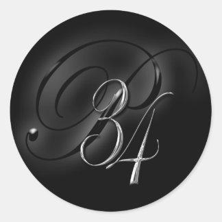 34 Initial P Wedding Envelope Seal II Round Sticker