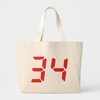 34 thirty-four red alarm clock digital numbr canvas bag