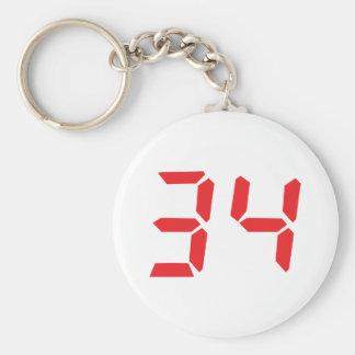 34 thirty-four red alarm clock digital numbr keychains