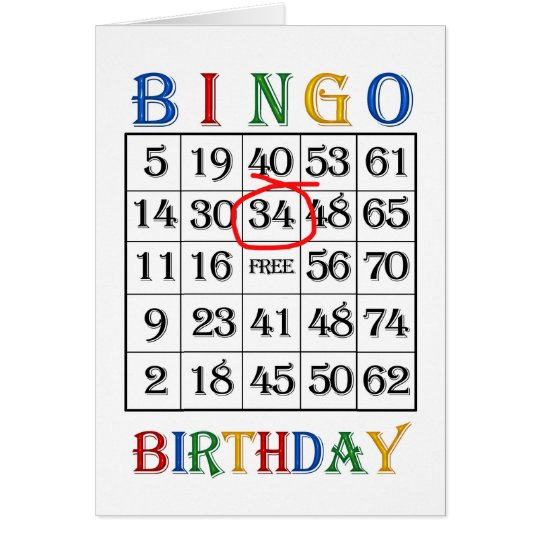 34th Birthday Bingo card
