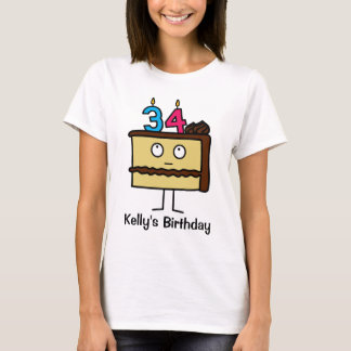 34th Birthday Cake with Candles T-Shirt