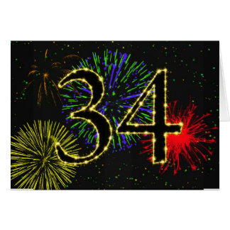34th Birthday card with fireworks