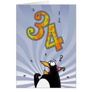 34th Birthday - Penguin Surprise Card