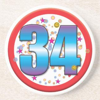 34th Birthday v2 Coasters