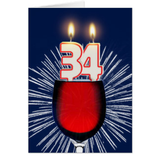 34th Birthday with wine and candles Card
