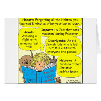 350 Modern jewish words color cartoon Card