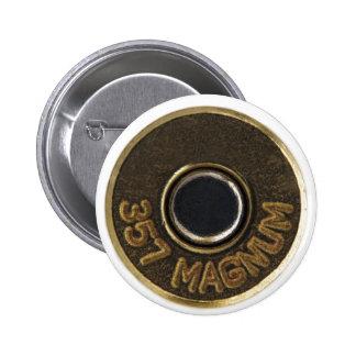 357 Magnum brass shell casing 6 Cm Round Badge