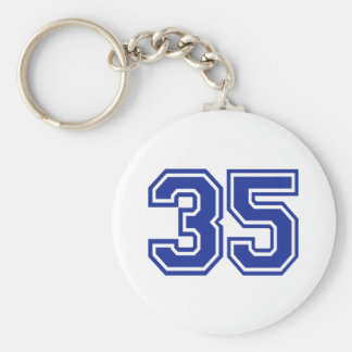 35 - number basic round button key ring