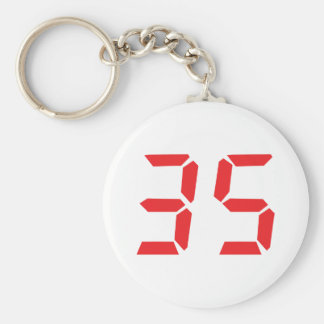 35 thirty-five red alarm clock digital numbr key ring