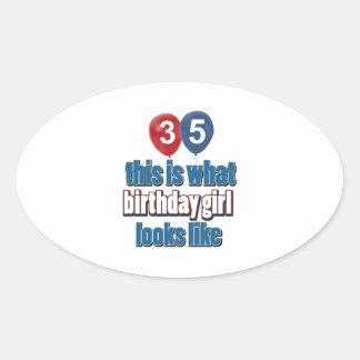 35 year old birthday girl designs oval sticker