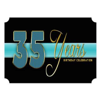 "35 YEARS BIRTHDAY PARTY INVITATION AQUA/BLACK 5"" X 7"" INVITATION CARD"