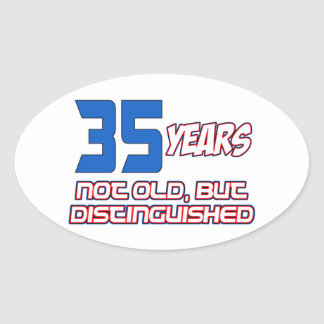 35 YEARS OLD BIRTHDAY DESIGNS OVAL STICKER