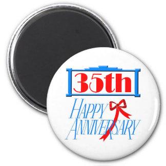 35th anniversary 3 6 cm round magnet
