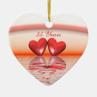 35th Anniversary Coral Hearts Ceramic Ornament