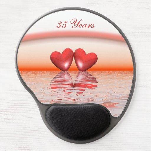 35th Anniversary Coral Hearts Gel Mousepads