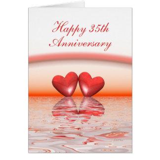 35th Anniversary Coral Hearts Greeting Card
