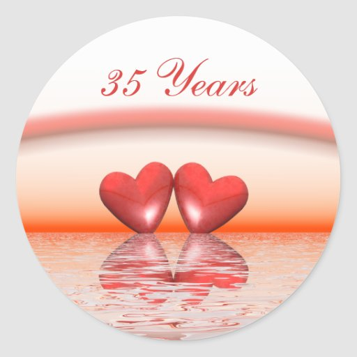 35th Anniversary Coral Hearts Round Sticker Zazzle