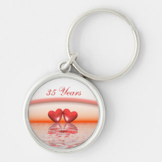 35th Anniversary Coral Hearts Silver-Colored Round Key Ring