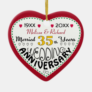 35th Anniversary gift heart shaped Christmas Ceramic Heart Decoration