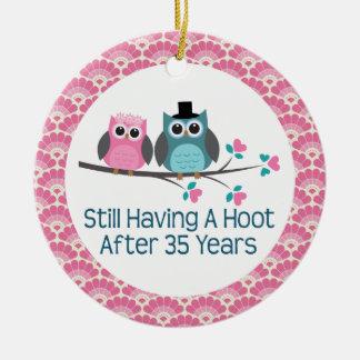 35th Anniversary Owl Wedding Anniversaries Gift Round Ceramic Decoration