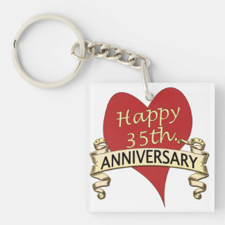 35th. Anniversary Single-Sided Square Acrylic Key Ring