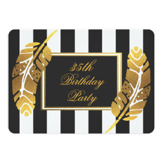 35th Birthday Gold Feather Black White Stripes Card