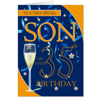 35th Birthday Son - Champagne Glass Greeting Card