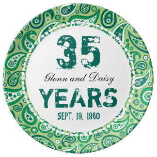 35th Jade Wedding Anniversary Paisley Pattern Porcelain Plates