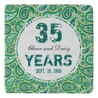 35th Jade Wedding Anniversary Paisley Pattern Trivets
