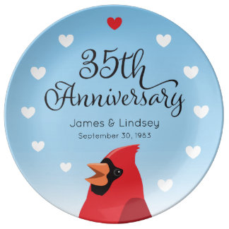 35th Wedding Anniversary, Cardinal and Hearts Plate