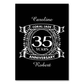35th wedding anniversary Coral Jade crest Card
