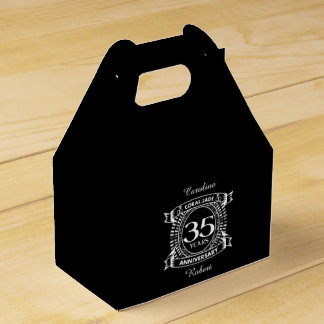 35th wedding anniversary Coral Jade crest Favour Box
