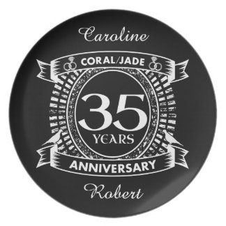 35th wedding anniversary Coral Jade crest Plate