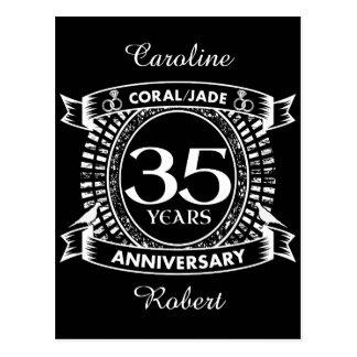 35th wedding anniversary Coral Jade crest Postcard