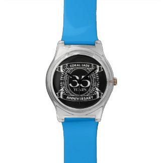 35th wedding anniversary Coral Jade crest Watch