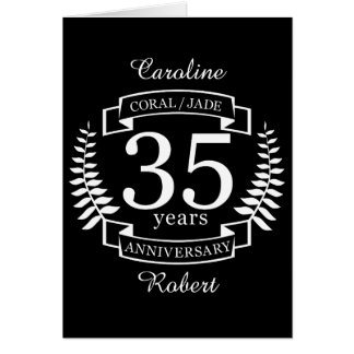 35th Wedding ANNIVERSARY JADE / CORAL Card