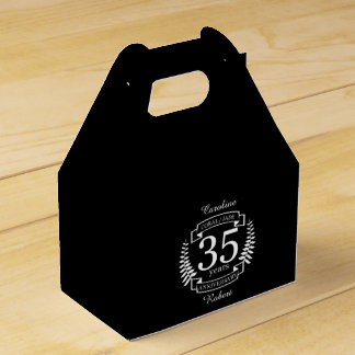 35th Wedding ANNIVERSARY JADE / CORAL Favour Box