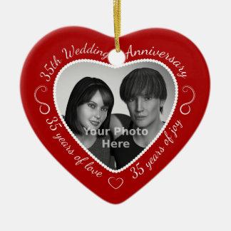35th Wedding Anniversary Photo Ceramic Heart Decoration