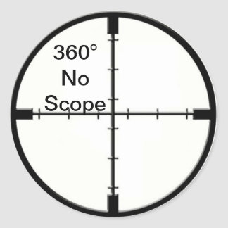 360 No Scope Video Game Joke Crosshairs FPS Classic Round Sticker